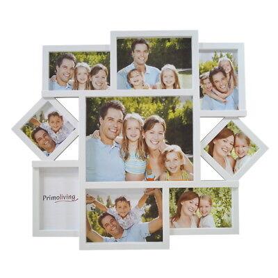 Große 9er Bildergalerie in 3D Optik Bilderrahmen Fotorahmen in Weiß P-404 (Große Kunststoff-bilderrahmen)