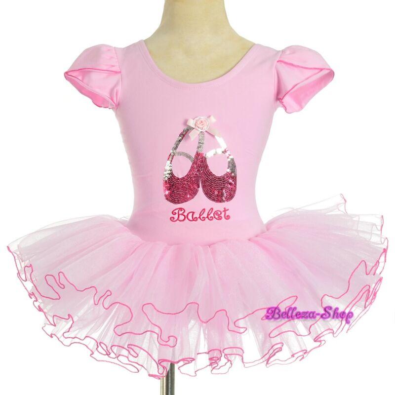 Pink Sequined Ballet Tutu Dance Costume Fairy Fancy Dress Leotard Size 3-4 BA060