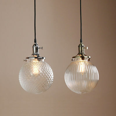 PERMO VINTAGE INDUSTRIAL PENDANT LAMP STRIPED GLASS GLOBE SHADE CEILING LIGHT