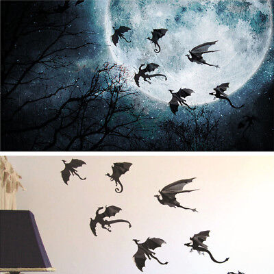 7pcs 3D Halloween Spooky Bats Wall Glass Window Sticker Party DIY Decoration