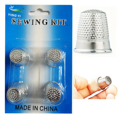 4 Finger Thimbles Sewing Grip Finger Metal Shield Protector for Pins Needles