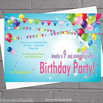 Balloon Invitations (Childrens Birthday Party Invitations Personalised Bunting Balloon x12+envs)