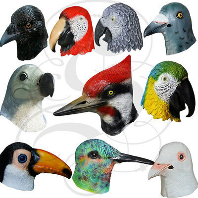 Latex Full Head Animal Bird Dove Dodo Parrot Pigeon Crow Masquerade Props Mask (Crow Masquerade Mask)