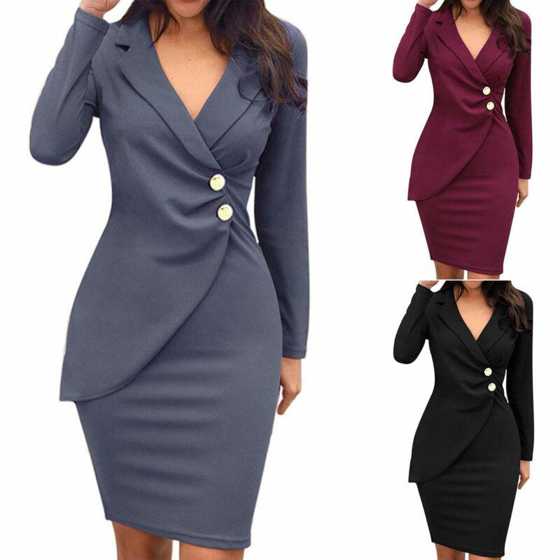 Damen Formale Büro Blazer Kleid Bodycon Langarm Midikleid Business Arbeitskleid