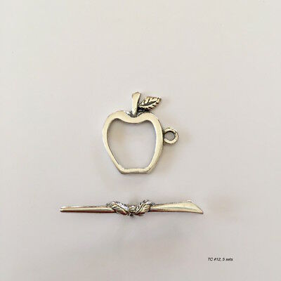 5 Sterling Silver Apple Toggle Clasp Sets Wholesale, 5 sets teacher (TC#12 12 Sterling Silver Toggle Clasp