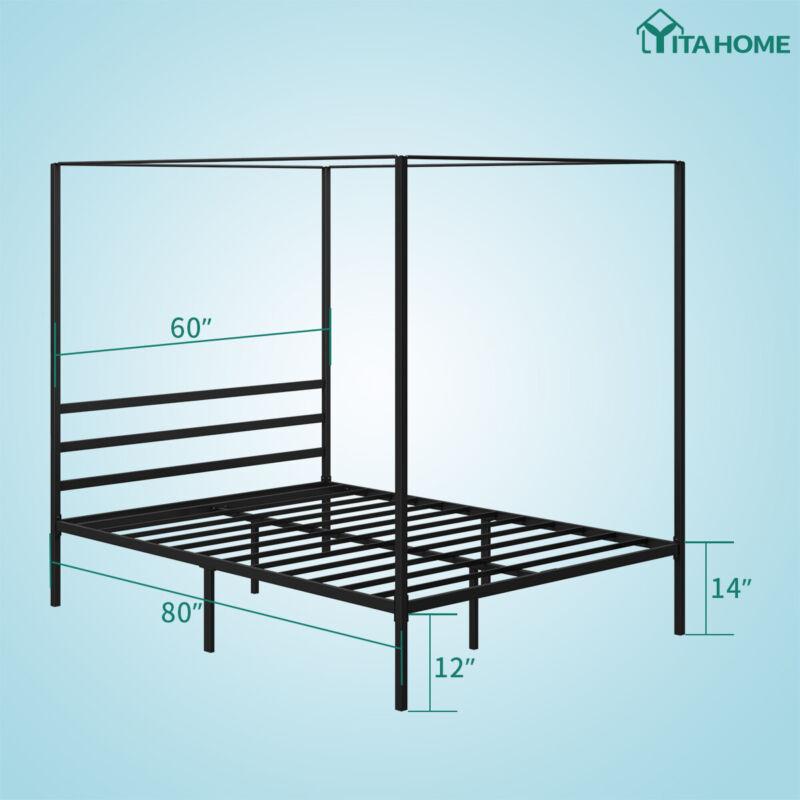 "YITAHOME Queen Metal Canopy Bed Platform 14"""