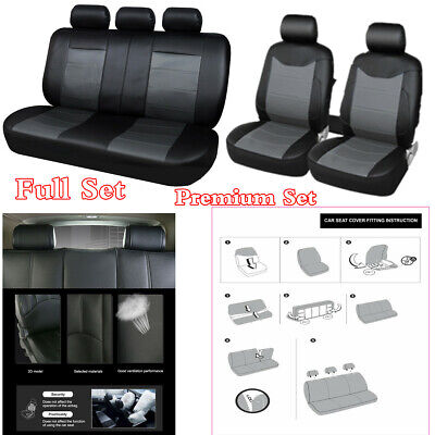 Premium Full Set Black PU Leather Seat Cover Cushion For Car - Airbag Compatible
