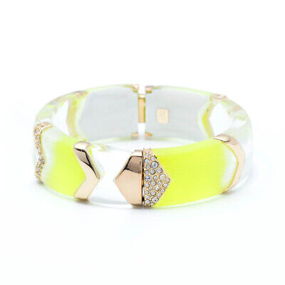 Alexis Bittar Encrusted Chevron Sectioned Neon Yellow Hinged Bracelet Section Crystal Bracelet