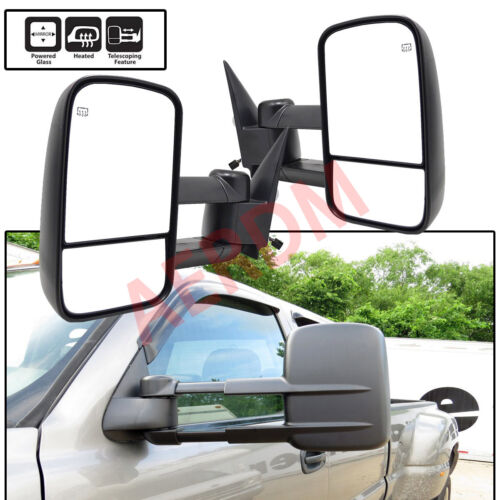 1pc Driver Left Side Power Heated Glass Telescoping Extend Trailer Towing Mirror