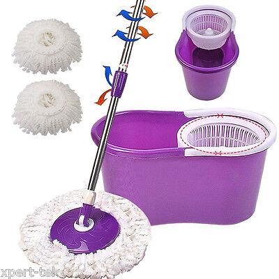 Easy Magic Floor Mop 360  Bucket 2 Heads Microfiber Spin Spinning Rotating Head
