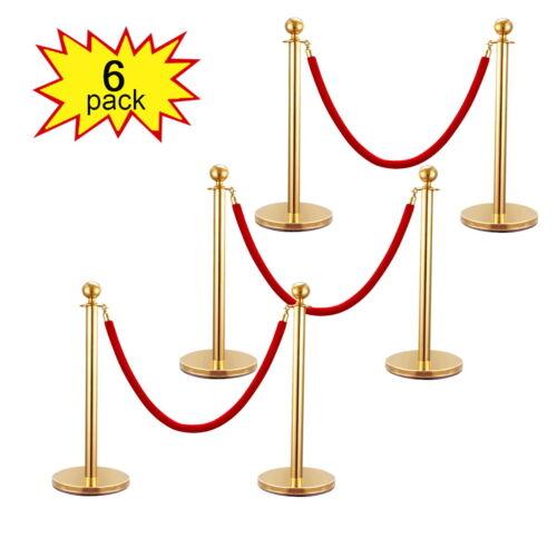 6PCS Velvet Rope Stanchion Gold Post Crowd Control Queue Line Barrier Gold