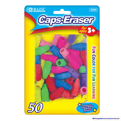 Bazic Caps Eraser Assorted Colors 50 Per Pack Fun Colorfor For Fun Learning New