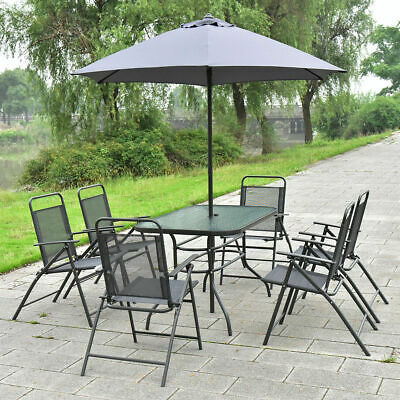 Garden Furniture - 8PCS Patio Garden Set Furniture 6 Folding Chairs Table with Umbrella Gray