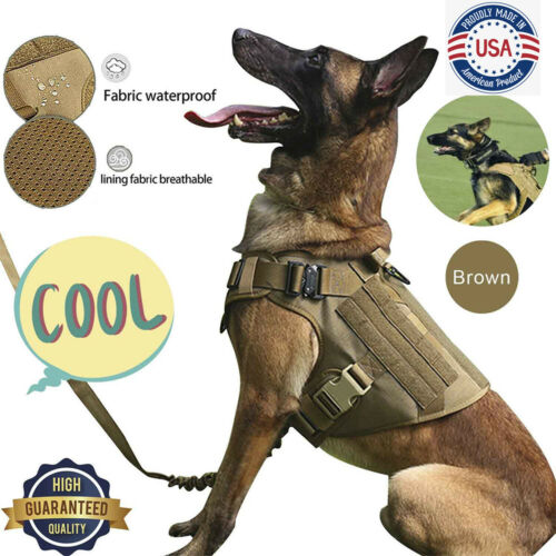Outdoor Tactical Dog Harness With Handle No-pull Large Military Dog Vest Working - $27.89