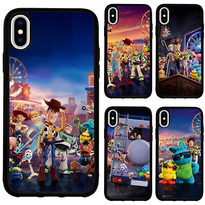 Toy Story 4 Cartoon Movie Silicone Case Cover for iPhone XR XS Max 5 6 7 8 Plus (Black Silicone Case Film)