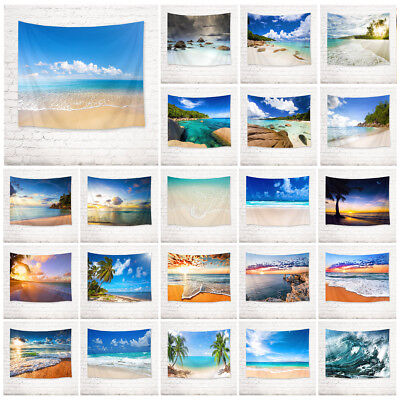 Sunset Beach Palm Tree Sea Wave Tapestry Wall Hanging Living Room Bedroom Dorm ()