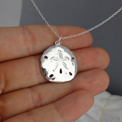 Sand Dollar Pendant Necklace - 925 Sterling Silver - Hammered Texture Beach