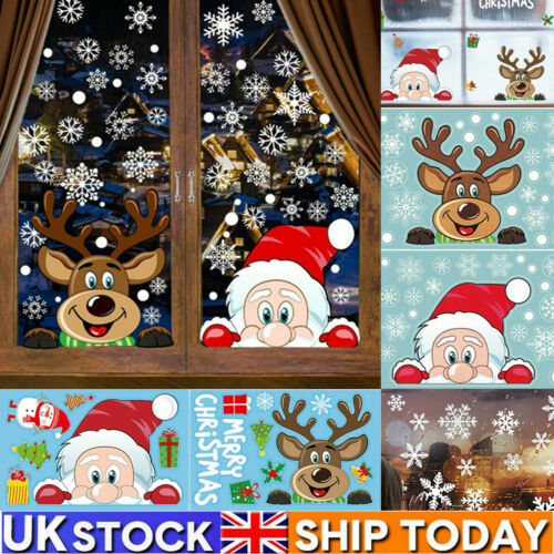 Home Decoration - UK Christmas Xmas Santa Removable Window Stickers Decal Art Wall Home Shop Decor