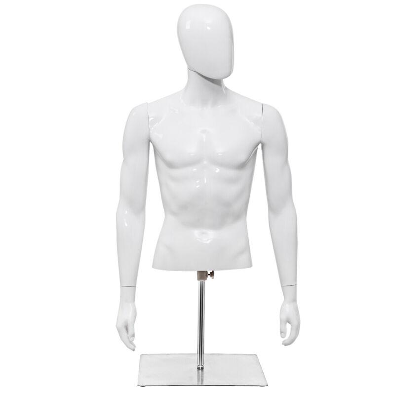 Male Mannequin Human Plastic Half Body Head Turn Dress Form Display w/Base