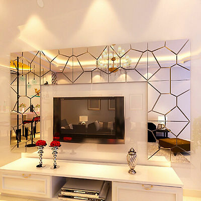 DIY Silver Modern Mirror Wall Sticker Rectangle Removable Decal Home Decor US