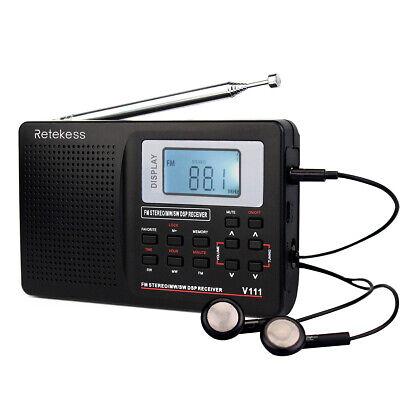Retekess Portable MW/FM/SW Radio Shortwave World band Receiver Sleep Timer US