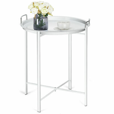 Metal Tray Table Round End Table Sofa Side Table Living Room Bedroom White Bedroom Living Room Sofa