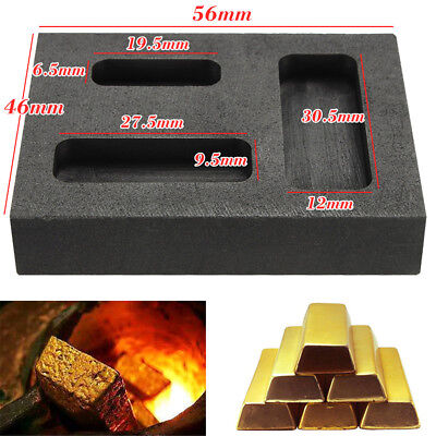 1/4 1/2 1 oz Graphite Crucible Ingot Bar Combo Mold For Silver Gold Melting Cast