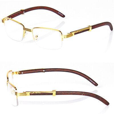 Retro Vintage Clear Lens Gold Wood Frame Fashion Eye Glasses Designer Mens (Women Spectacles)
