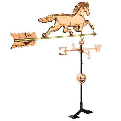 Copper Polished horse Weathervane Weather Vane Roof bracket Mounting Hardware Copper Horse Weather Vane