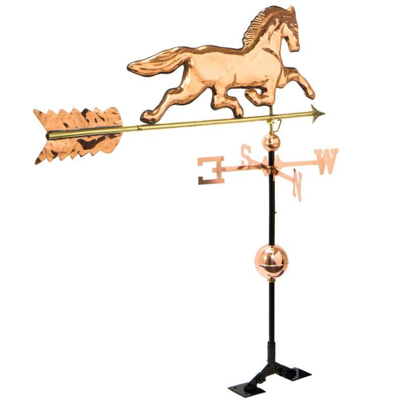 Copper Polished horse Weathervane Weather Vane Roof bracket Mounting Hardware