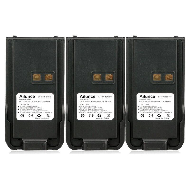 Ailunce HD1 Retevis RT29 Li-ion Battery 3200mAh 7.4V Walkie Talkie Batteries X3