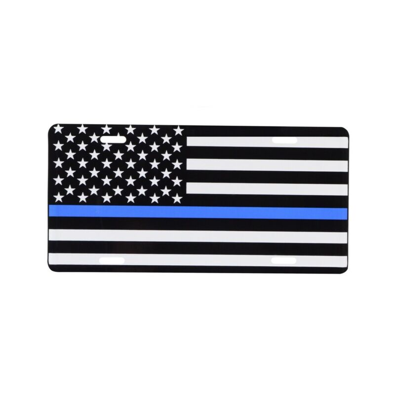 Blue Lives Matter Thin Line US Flag License Plate Support Police&Law Enforcement