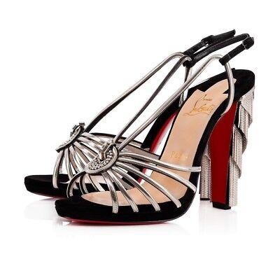 NIB Christian Louboutin Jeanarlow 120 Black Silver Chain Sandal Heel Pump 36.5