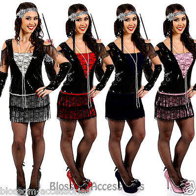 I78 Deluxe Flapper 1920 Roaring 20s Costume Charleston Fancy Dress Gatsby Outfit