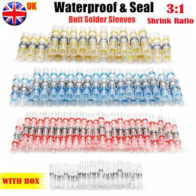 50/1000x Solder Seal Sleeve Heat Shrink Butt Wire Connector Terminals Waterproof