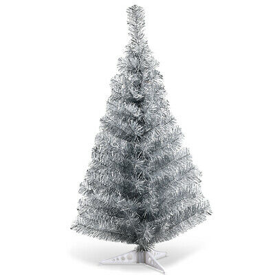 3FT Silver Tinsel Christmas Tree Unlit Artificial with Plastic Stand Home Decor Decorating Artificial Christmas Tree