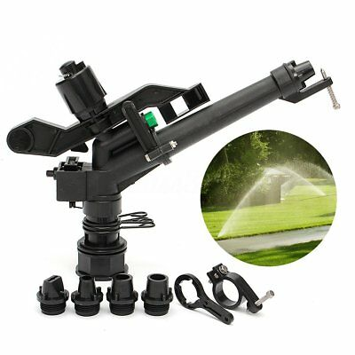 5.5 Plastic Irrigation Garden Impact Lawn Sprinkler Gun 5 Spray Nozzles Head