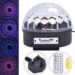 Remote Control Crystal Ball Magic LED Stage Light MP3 DJ Club Pub Disco Party