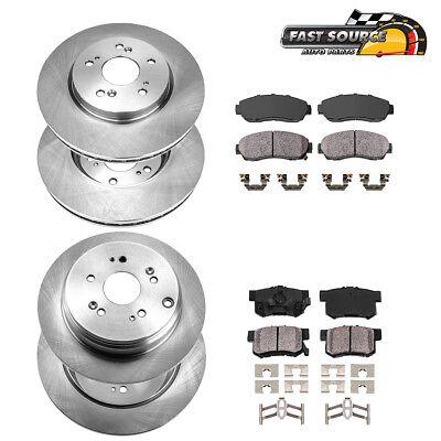 Front + Rear OE Brake Disc Rotors & Ceramic Pads For Honda CR-V Acura RDX