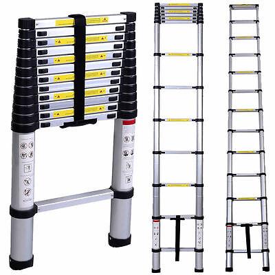 En131 12.5ft Aluminum Telescoping Telescopic Extension Ladder Tall Multi Purpose