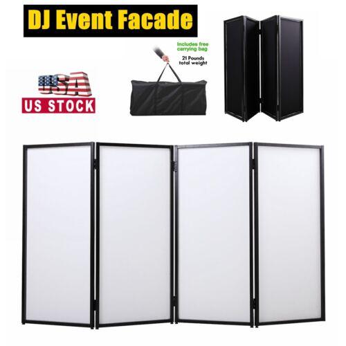 Folding DJ Event Facade white+black Scrim Metal Frame 4-Panel w/Travel Bag Case