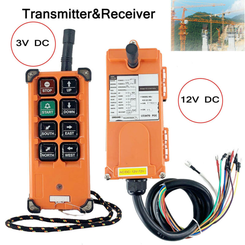 12-72V Wireless Industrial Remote Control for Transmitter & Receiver Hoist Crane