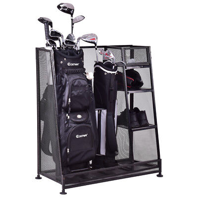 469bf8aa9db5 Goplus Dual Golf Organizer Storage Rack Fit 1-2 Golf Bags Clubs Accessories  New