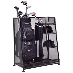 Goplus Dual Golf Organizer Storage Rack Fit 1-2 Golf Bags Clubs Accessories New