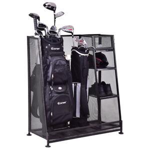 Amazing Goplus Dual Golf Organizer Storage Rack Fit 1 2 Golf Bags Clubs Accessories  New