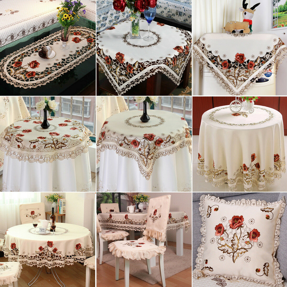 White Embroidered Lace Tablecloth Floral Table Runner Doily