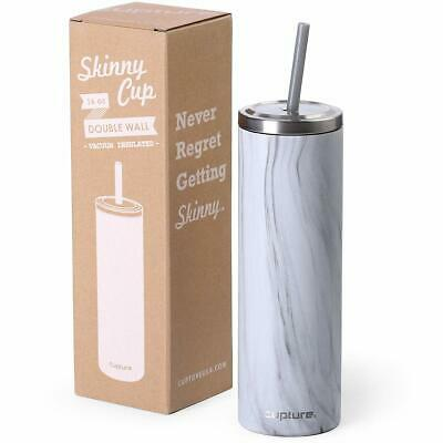 Cupture BPA Free Stainless Steel Skinny Insulated Tumbler Cup with Straw and lid (Tumblers With Lids And Straws)