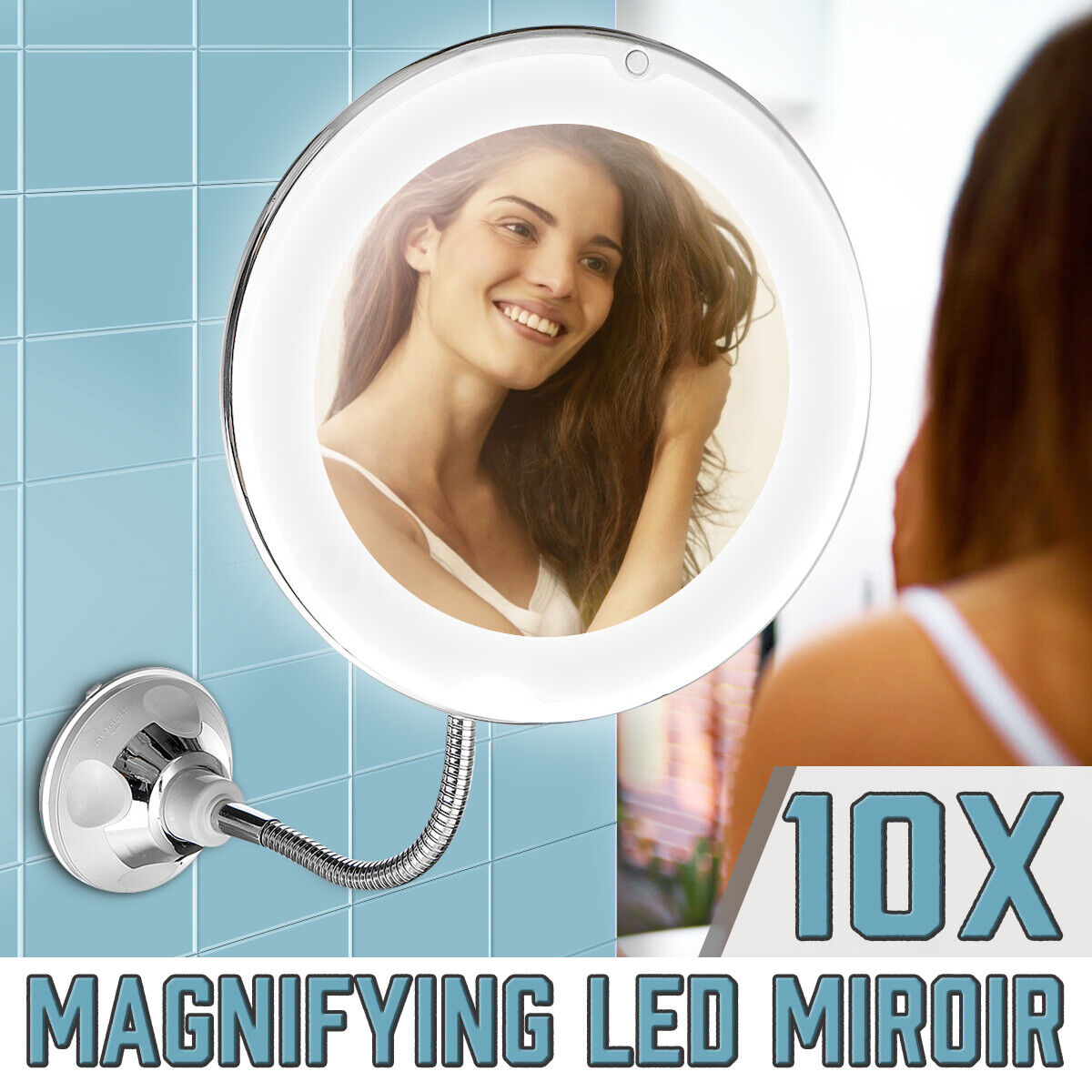 Foldable 10X Magnifying Makeup Vanity Mirror W/ LED Lighted