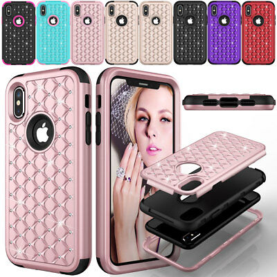 For iPhone X 10 Luxury Hybrid Crystal Shockproof Bling Hard Women's Case Cover](Plastic Bling)