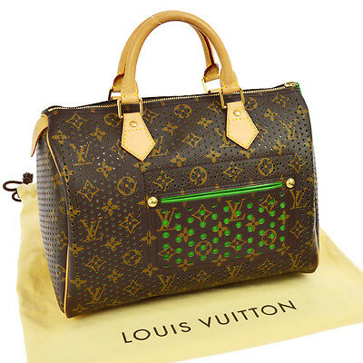 AUTHENTIC LOUIS VUITTON SPEEDY 30 HAND BAG MONOGRAM PERFO GREEN M95181 A34129